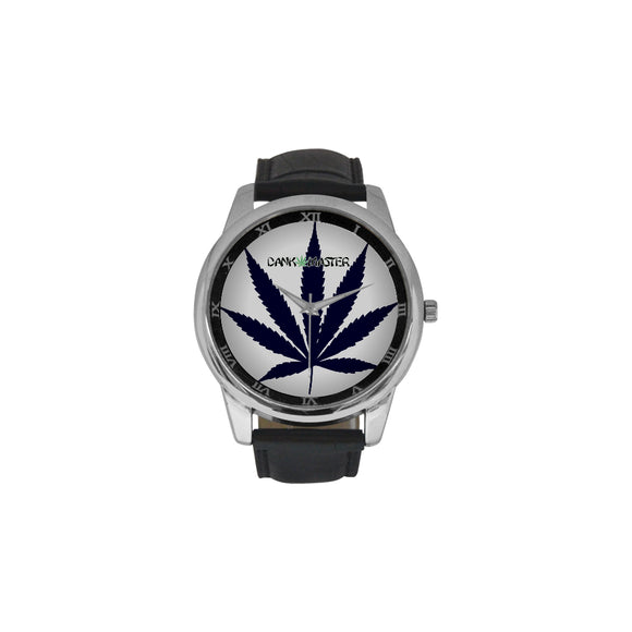 Dank Master Black Weed Leaf Large Men's Leather Watch - Dank Master