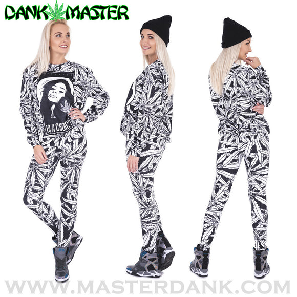 Dank Master Black & White Weed Leaf Outfit - Dank Master