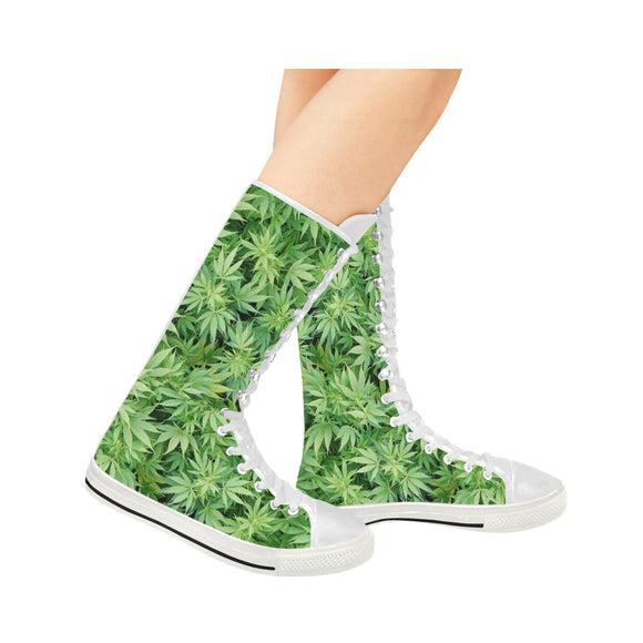Dank Master Women's Green Weed Leaf Canvas Long Boots - Dank Master