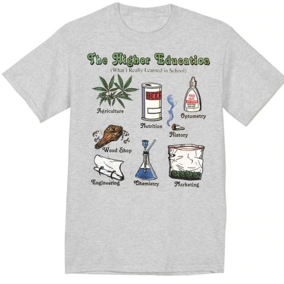 Dank Master The Higher Education T-shirt Dank Master 420 Apparel weed clothing, marijuana fashion, cannabis shoes, hoodies, pot leaf shirts and hats for stoner men and women.