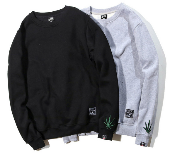 Dank Master Simple Weed Leaf Embroidery Sweatshirt - Dank Master