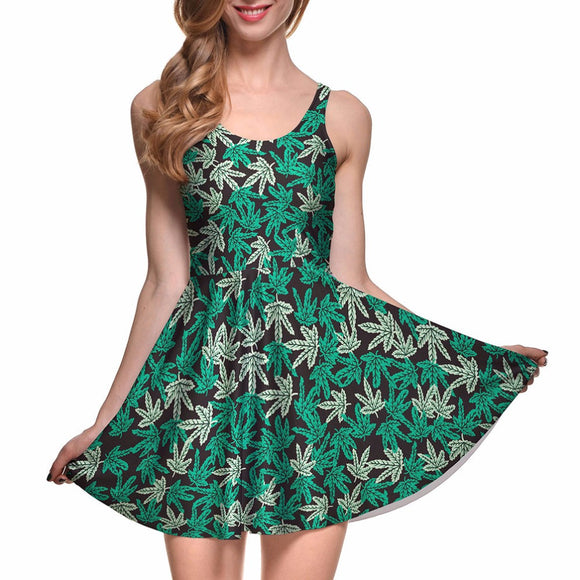 Dank Master Green Leaf Casual Dress for Women