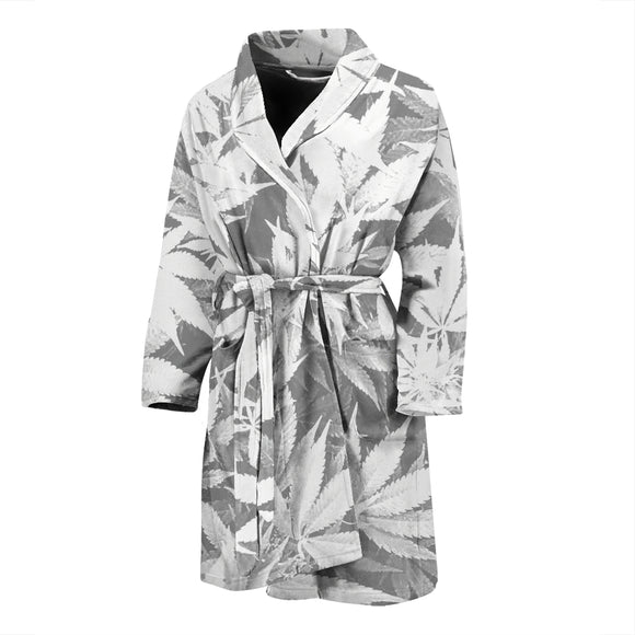 Dank Master Men's OG White Custom Weed Leaf Bathrobe