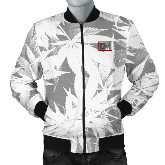 Dank Master Men's OG White Custom Weed Leaf Bomber Jacket