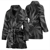 Dank Master Women's OG Black Custom Weed Leaf Bathrobe