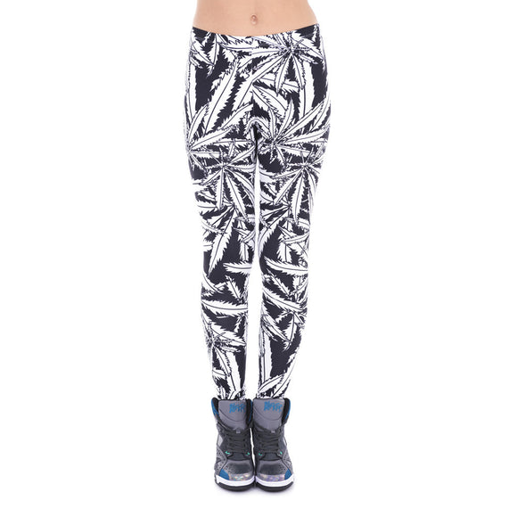 Dank Master Black & White Weed Leaf Leggings