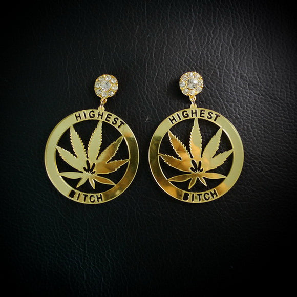 Dank Master Gold Weed Leaf Earrings - Dank Master