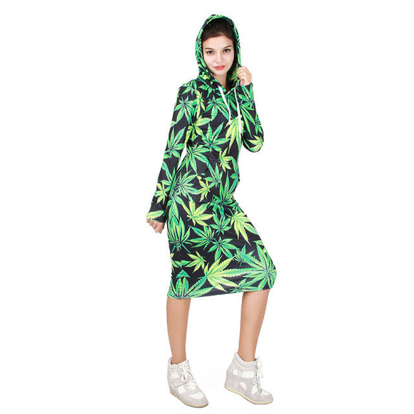 Dank Master Green Leaf Casual Hood Dress - Dank Master