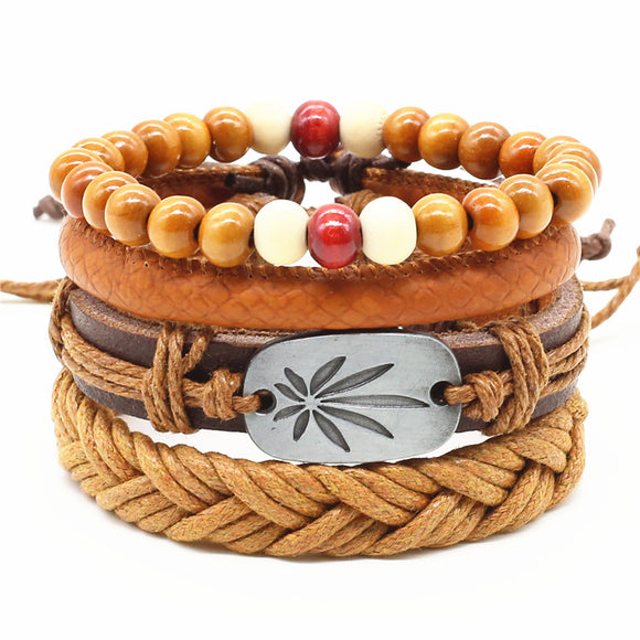 Dank Master Weed Leaf Bracelet Set - Brown