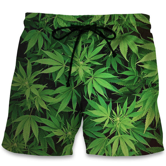 Dank Master Green Weed Leaf Swim Trunks Board Shorts - Dank Master