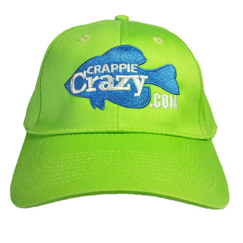 Embroidered Crappie Crazy Pro Staff Hat Neon Green
