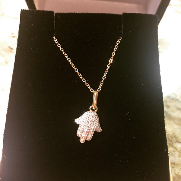 HAMSA NECKLACE WITH DIAMONDS