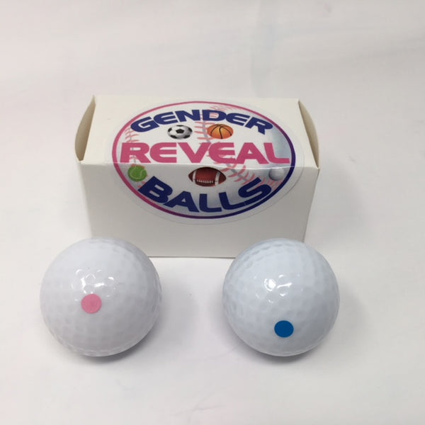 Gender Reveal Golf Balls - 4 balls - 2 pink & 2 blue