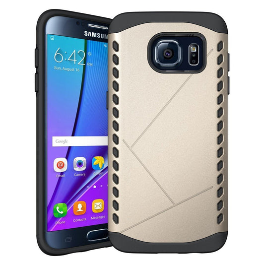 S7 Edge Case, Samsung S7 Edge Case [Fit Galaxy S7edge, Not for S7], Boonix Soft Silicone and Hard PC Combo ShockProof Cover, 2 in 1 Hybrid Protective Bumper [Gold]