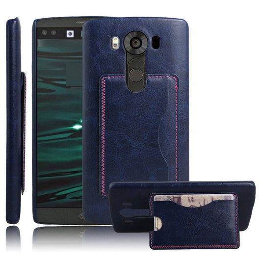 LG V10 Protector, High Quality Scratch-Resistant Dual Layer Hybrid Protective Case and Shockproof Bumper with Kickstand by Boonix [Blue-Wallet]