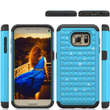 S7 Cases, Samsung Galaxy S7 Case with Screen Protector, Boonix Scratch-Resistant Dual Layer Hybrid Protective Shell and Shockproof Bumper + Shatterproof Screen Protector [Blue w/ Crystal + Shatterproof Screen Protector]