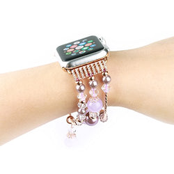 Apple Watch bracelet, Handmade bracelets Accessories Adaptor for Apple iWatch Smart Watch Series 1 Series 2, Hand Strap Wrist Band Chain Fit Apple 42mm SmartWatch ALL Models [42 mm-Purple-Medium]