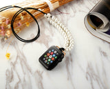 Apple Watch Necklace, Handmade Necklaces Accessories Adaptor for Apple iWatch Series 1 Series 2 Series 3 Series 4 Series 5, Neck Strap Chain Fit Apple 42mm SmartWatch ALL Models [38 mm - Black Cord - Faux White Pearl]
