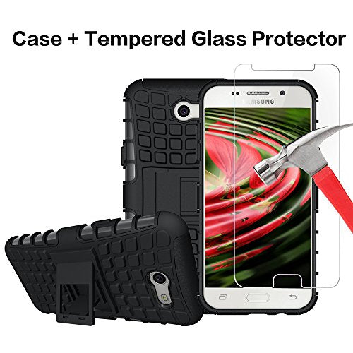 Boonix Case with Screen Protector for J3 Eclipse, J3 Emerge, Express Prime 2, Amp Prime 2, J3 Prime, Samsung Galaxy J3 2017, Guard Against Impacts and Drops [Tempered Glass + Black Kickstand Cover]