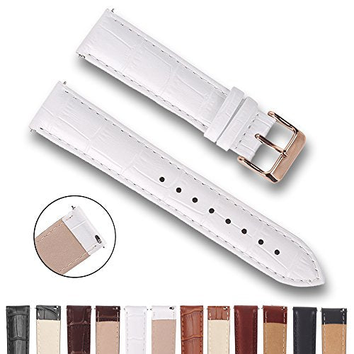 Top Grain Leather Watch Band, Quick Release Watch Bands, Replacement Watch Bands for Men and Women, Easy Swap, Change in Seconds [24mm White]