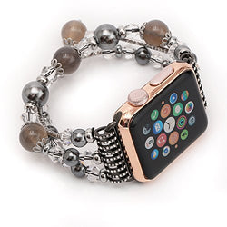 Apple Watch bracelet, Handmade bracelets Accessories Adaptor for Apple iWatch Smart Watch Series 1 Series 2, Hand Strap Wrist Band Chain Fit Apple 38mm SmartWatch ALL Models [38 mm-Gray-Medium]