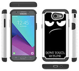 Boonix Case for J3 Eclipse, J3 Emerge, Express Prime 2, Amp Prime 2, J3 Prime, J327, J327V, Samsung Galaxy J3 2017 [Full Protection Bumper][Don't Touch My Phone Humor] - Guard Against Drops (Fun)