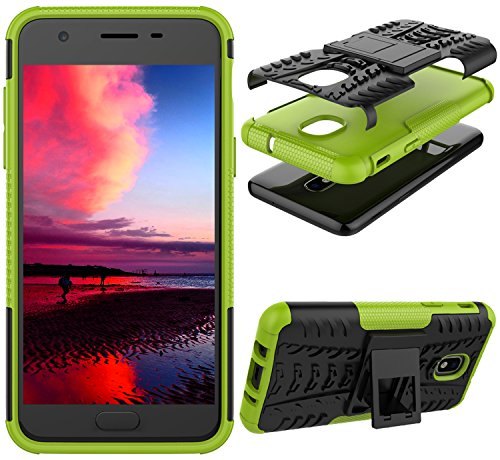 J7 V 2nd Gen Case, J7 2018 Cases, SM-J737V, J7 Refine, Samsung Galaxy J7 Aero, Protection Bumper for Samsung Galaxy J7 2018 (Green Case + Tempered Glass Protector)