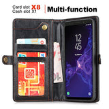 Samsung Galaxy S9 Wallet Black Case, [Folio Cover] [Stand Feature] Premium Credit Card Flip Case Protective Luxury PU Leather with Card Slot + Side Pocket Magnetic Closure
