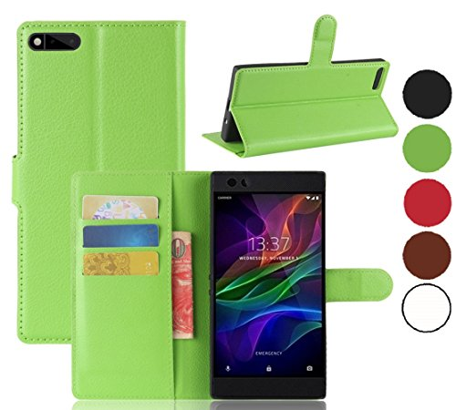 Razer Phone Wallet Case, The Razer Gaming Phone Cases, Cell Phone Accessories for Razer Phone 2017, Razer Phone Protector Skin Protection Cover Protective Bumper (Green Wallet)