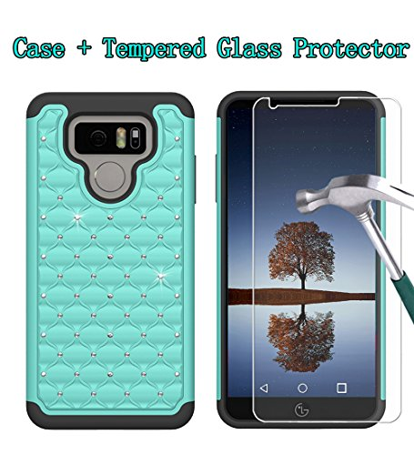 Boonix LG G6 Case and Screen Protector, 2 Piece Bumper, Guard Against Impacts and Drops [2-Pack Tempered Glass Screen Protector + Glitter Mint Protective Cover]