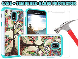 J7 V 2nd Gen Case, J7 2018 Cases, SM-J737V, J7 Refine, Samsung Galaxy J7 Aero, Bumper for J7 2018 [Love Tree Case + Glass Screen Protector]