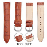 Top Grain Leather Watch Band, Quick Release Watch Bands, Replacement Watch Bands for Men and Women, Easy Swap, Change in Seconds, Choice of Sizes (Brown)