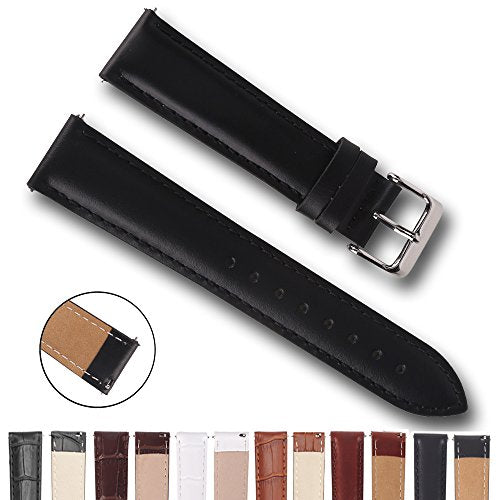 Top Grain Leather Watch Band, Quick Release Watch Bands, Replacement Watch Bands for Men and Women, Easy Swap, Change in Seconds [18mm Black]