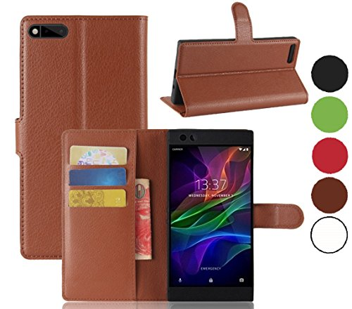 Razer Phone Wallet Case, The Razer Gaming Phone Cases, Cell Phone Accessories for Razer Phone 2017, Razer Phone Protector Skin Protection Cover Protective Bumper (Brown Wallet)