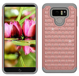 Boonix LG G6 Case and Screen Protector, 2 Piece Bumper, Guard Against Impacts and Drops [2-Pack Tempered Glass Screen Protector + Bling Rose Gold Protective Cover]