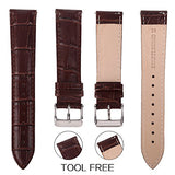 Top Grain Leather Watch Band, Quick Release Watch Bands, Replacement Watch Bands for Men and Women, Easy Swap, Change in Seconds [18mm Deep Brown]