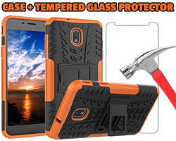 J7 V 2nd Gen Case, J7 2018 Cases, SM-J737V, J7 Refine, Samsung Galaxy J7 Aero, Protection Bumper for Samsung Galaxy J7 2018 (Orange Case + Tempered Glass Protector)