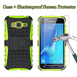 Boonix Case and Screen Protector for Samsung Galaxy J3 2016, J3V, Express Prime, Amp Prime, Galaxy Sol, Sky, J36, J36V - Guard Against Impacts and Drops [Shatterproof Screen Protector + Green Case]
