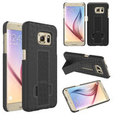S7 Cases, Samsung Galaxy S7 Case with Screen Protector, Boonix Scratch-Resistant Dual Layer Hybrid Protective Shell and Shockproof Bumper + Shatterproof Screen Protector [Black w/ Holster + Shatterproof Screen Protector]