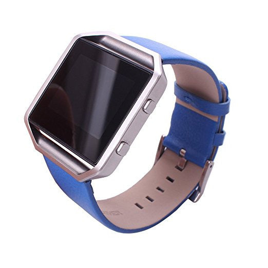Genuine Leather Watch Band Strap with Classic Metal Clasp Buckle [Blue]