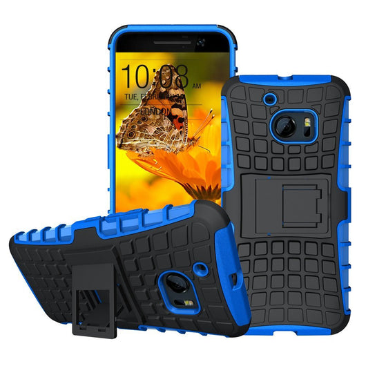 HTC10 Cases, HTC 10 Case, Boonix Rugged [Easy Grip] Hybrid Defender, Anti Slip Hard PC + Soft Silicone Combo ShockProof Mobile Cover, 2 in 1 Protective Bumper with Kickstand [Blue]