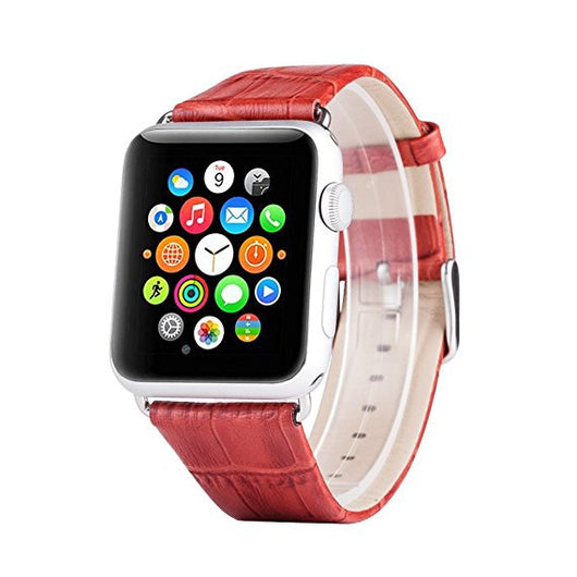 Apple Watch Band, Apple Watch Series 1 2 3 4 5 Bands, Boonix Top-Grain Genuine Leather Loop w/ Metal Clasp for Apple Watch All Models, Sweat-resistant Pre-assembled Easy Replacement [42mm Red Bamboo Pattern]