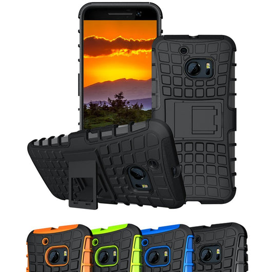 HTC10 Cases, HTC 10 Case, Boonix Rugged [Easy Grip] Hybrid Defender, Anti Slip Hard PC + Soft Silicone Combo ShockProof Mobile Cover, 2 in 1 Protective Bumper with Kickstand [Black]