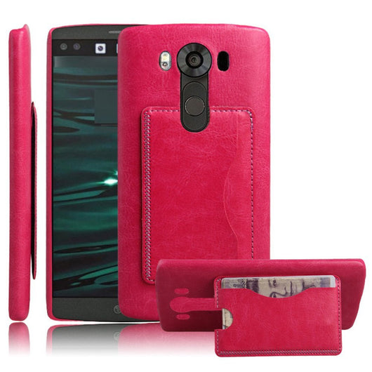 LG V10 Protector, High Quality Scratch-Resistant Dual Layer Hybrid Protective Case and Shockproof Bumper with Kickstand by Boonix [Magenta-Wallet]