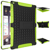 APPLE iPad Pro Protector, Heavy Duty Scratch-Resistant Dual Layer Hybrid Protective Case and Shockproof Bumper with Kickstand by Boonix [12.9 inch iPad Pro - Green with Stand]