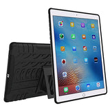 APPLE iPad Pro Protector, Heavy Duty Scratch-Resistant Dual Layer Hybrid Protective Case and Shockproof Bumper with Kickstand by Boonix [9.7 inch iPad Pro - Black with Kickstand and Pen Holder]