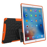 APPLE iPad Pro Protector, Heavy Duty Scratch-Resistant Dual Layer Hybrid Protective Case and Shockproof Bumper with Kickstand by Boonix [9.7 inch iPad Pro - Orange with Kickstand and Pen Holder]