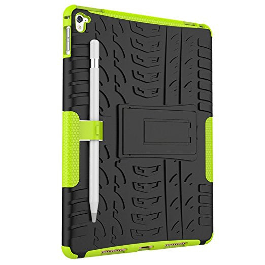 APPLE iPad Pro Protector, Heavy Duty Scratch-Resistant Dual Layer Hybrid Protective Case and Shockproof Bumper with Kickstand by Boonix [9.7 inch iPad Pro - Green with Kickstand and Pen Holder]
