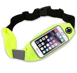Universal Running Belt Waist Pack, Weatherproof Reflective Fanny Bag For Workout, Walking, Hiking, Cycling - Fit iPhone, Samsung and most Smartphone, Clear Touch Screen Window by Boonix [Green]