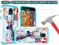 J7 V 2nd Gen Case, J7 2018 Cases, SM-J737V, J7 Refine, Samsung Galaxy J7 Aero, Bumper for J7 2018 [Deer Case + Glass Screen Protector]